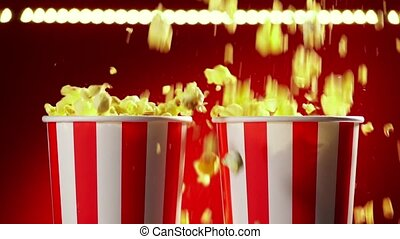 Red bowl full of popcorn on red background for film, TV, television watching. Concept of movie night. Super slow motion 120p