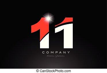11, couleur, nombre, conception, logo, blanc rouge, icône