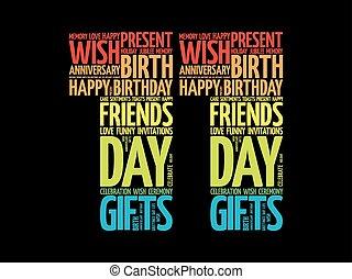 11, cumpleaños, palabra, nube, feliz