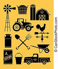 11, detalhado, jogo, fazenda, illustrations., ícone