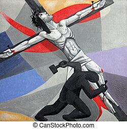 11, estaciones, de, el, cruz, crucifixion:, jesús, es,...