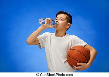 11, garçon, basket-ball, vieux, enfant, balle, année, ...