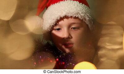 11, garçon, peu, habillé, claus, santa