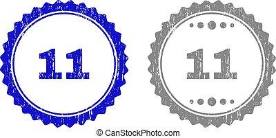 11, gratté, timbre, cachets, textured, ruban