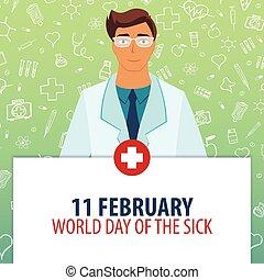 11, illustration., monde médical, jour, holiday., vecteur, february., médecine, mondiale, sick.
