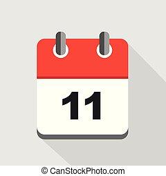 11, illustration, vecteur, calendrier, rouges, icône