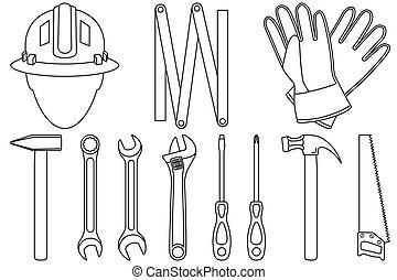 11, jogo, arte, handyman, pretas, linha, ferramentas, branca