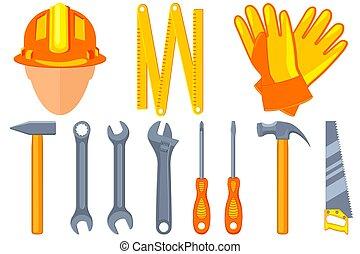 11, jogo, coloridos, handyman, ferramentas, caricatura
