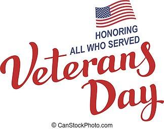 11, lettering, texto, day., novembro, veterans