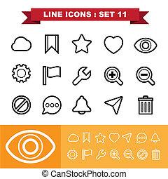 11, ligne, ensemble, icônes