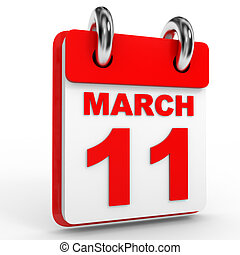 11 march calendar on white background. 3D Illustration.