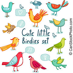 11, mignon, set., oiseaux, peu, signes, super, birdies