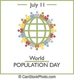 11, mundo, dia, julho, população