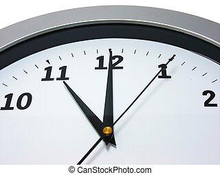 11, mur, heure, horloge