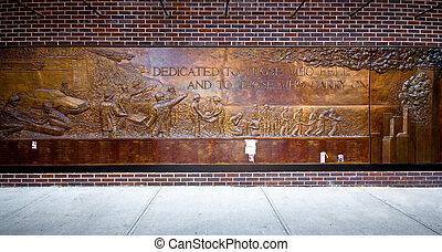11, mur, pompiers, sept., commémoratif