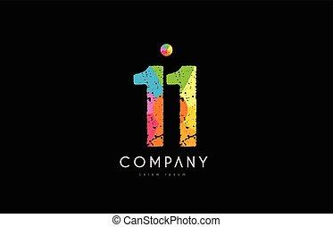 11 number grunge color rainbow numeral digit logo