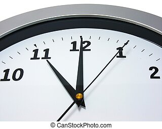 Top area of a wall clock showing 11 am pm