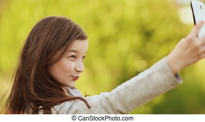 Girl Taking Selfie With Mobile Phone