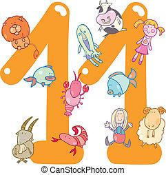 11, onze, nombre, jouets