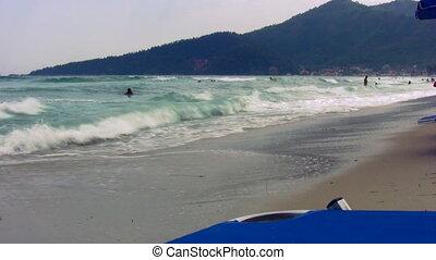 11, plage, sablonneux, vagues