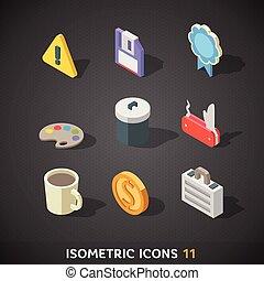 11, plano, isométrico, conjunto, iconos