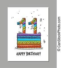 11, powitanie karta, rocznica, celebration., szablon