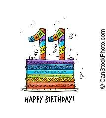 11, powitanie, rocznica, szablon, celebration., karta