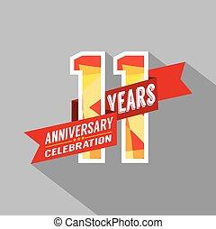 11, rocznica, celebration., lata