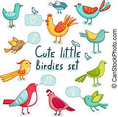 11, schattig, set., vogels, weinig, tekens & borden,...