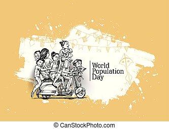 11, scooter-, sien, illustration., famille, séance, croquis, main, jour, vecteur, mondiale, dessiné, heureux, juillet, population