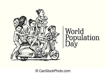 11, scooter-, suo, illustration., famiglia, seduta, schizzo, mano, giorno, vettore, mondo, disegnato, felice, luglio, popolazione