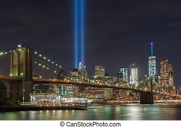 11, septembre, tribut, -, lumière