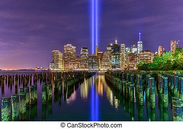 11, septiembre, tributo, -, luz