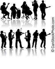 11, silhouette, musicista