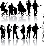 11, silhouetten, musiker