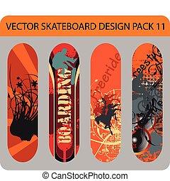 11, skateboard, design, satz
