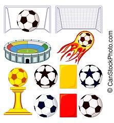 11 soccer elements colorful cartoon set