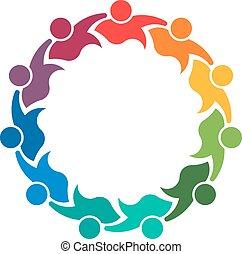 11,  Teamwork, folk, grupp, holdingen