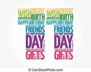 11, urodziny, słowo, chmura, szczęśliwy