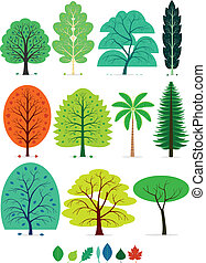 Trees - 11 Various of Trees in simplified flat vector...
