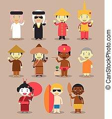 11, vector:, bambini, vestito, nazionale, differente, asia, ...