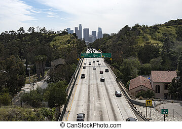 The 110 Freeway leading into downtown Los Angeles.
