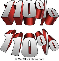 110 Percent is an illustration of two versions of 110 ...