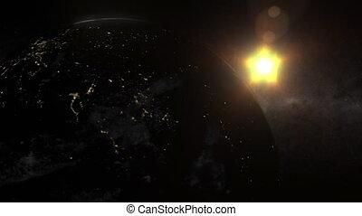 (1100), aarde, aanzicht, van, ruimte, met, stadslichten