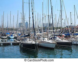 11.07.2016, Barcelona, Spain: Luxury sail yachts in sea port