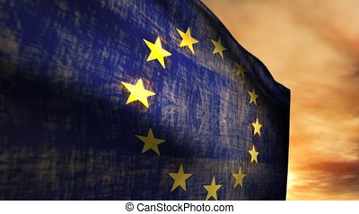 (1116) European Union Flag and Sunset