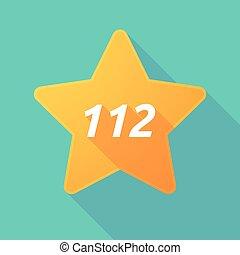 112, étoile, ombre, long, texte