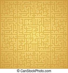 112, arabe, vecteur, géométrique, kufi., muhammad, or, surat...