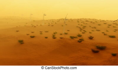 (1121) Electric Power Wind Turbines in Desert Sand Storm Aerial