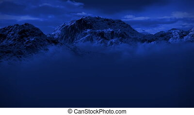 (1125) Snowy Mountain Wilderness Moonlight Night Snow Storm...